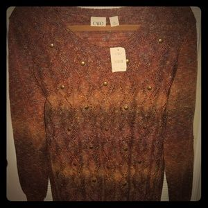 NWT Cato Copper Rust and Brown Ombré Sweater XL
